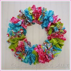 CONFESSIONS OF A PLATE ADDICT Easy No-Sew Fabric Wreath - colorful for Easter or just spring