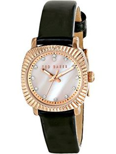 Ted Baker Women's TE2120 Mini Jewels Rose Gold-Tone Black Leather Watch ❤ Ted Baker