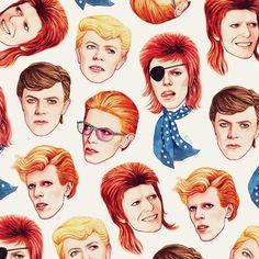Ilustracion de David Bowie por Helen Green.