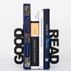 Modern bookends - Good read - for home or public library, black, laser cut from metal thick enough to hold a bunch of books. via Etsy. Modern Bookends, Housewarming Present, Book Holders, Inexpensive Gift, I Love Books, My New Room, Decoration, Book Worms, House Warming