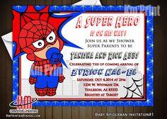 Baby Spiderman-Birthday/Baby Shower invitations We ship Anywhere in the US Kmprintsa@yahoo.com