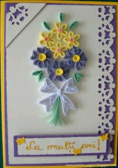 Un alt buchet quilling Quilling Birthday Cards, Paper Quilling Cards, Paper Quilling Tutorial, Paper Quilling Flowers, Paper Quilling Designs, Quilling Patterns, Neli Quilling, Quilling Images, Quilling Craft