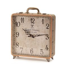 International Copper Finish and Iron Numerical Display Suitcase Table Clock