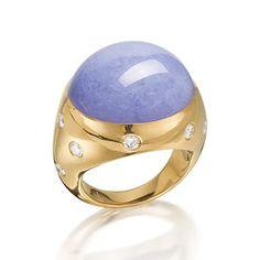 A lavender jadeite and diamond ring