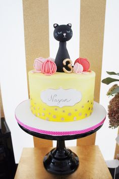 Cake from a Kitty Cat Birthday Party via Kara's Party Ideas | KarasPartyIdeas.com (18)