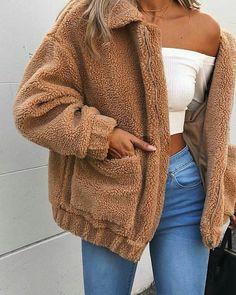 Cute Cozy Warm Fall Back to School Outfit Ideas for Teens for College - Aurora Popular Oversized Soft Comfy Sherpa Teddy Jacket Pixie Coat I am gia dupe - www. Source by larahaunfelder outfit ideas for women casual Stylish Summer Outfits, Cute Fall Outfits, Fall Winter Outfits, Spring Outfits, Casual Outfits, Winter Ootd, Winter Clothes, Spring Clothes, Casual Wear
