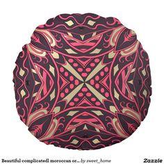 Beautiful complicatedl moroccan ornament. round pillow  Moroccan ornament make interior unique and add aesthetics sense. Ornament create in oriental tradition. #Home #decor #Room #accessories #Interior #decorating #Idea #Styles #abstract