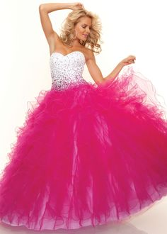 Fun White and Fuchsia Ball Gown - Paparazzi by Mori Lee 93100 - Sweet 16 - Prom - RissyRoos.com