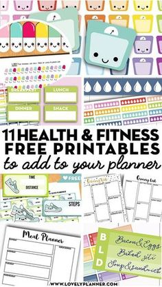More than 10 FREE printable health and fitness planner stickers and planner inserts to help you reach your fitness goals: lose weight, meal plan, work out. #fitness #diet #mealplan #healthy #planner #freeprintable #plannerstickers #lovelyplanner