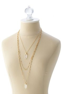 Layered Quartz Gold Chain Necklace | Aria Pendant Necklace