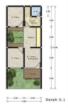 Denah rumah type 27 minimalis sederhana tapi modern