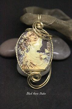 Ivory and Brown Cameo Necklace on ribbon strands