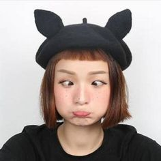 ad2926babb462 Cosplay black cat beret hat with ears for teenage girls winter wool hats