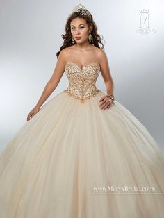 Marys Bridal Marys Quinceanera Dresses dress with Style - Fabric - Sparkling tulle and Color - Champagne, Royal, White Sweet 16 Dresses, 15 Dresses, Fashion Dresses, Mary's Bridal, Bridal Wedding Dresses, Boho Wedding, Bridesmaid Dresses, Quinceanera Collection, Dresser