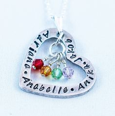 Heart With Family Names and hanging Swarovski Element Birthstone Beads Custom Necklace on a Sterling Silver diamond cut chain