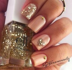 Peach and gold nail design. Hearts, glitter polish