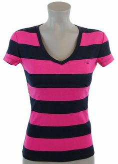 Tommy Hilfiger Women Striped Logo V-NECK T-Shirt « ShirtAdd.com – Perfect Fit Shirts