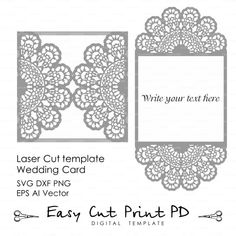 Wedding invitation Lace crochet doily Pattern Card Template (svg, dxf, dwg, ai, eps, png, pdf) lasercut Instant Download Silhouette Cameo