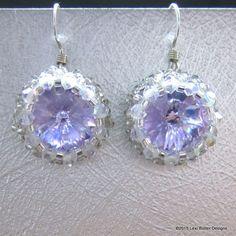 Handmade Silver Beaded Tanzanite Rivoli Swarovski Crystal Earrings