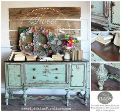 """Antique Buffet painted with Sweet Pickins Milk Paint in """"Sweetie Jane"""" with a dark glaze, top re-stained Kona by Rustoleum.  Love this one!!"""