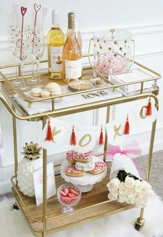 Bar cart for Valentines Day / @xoAmandaJohn