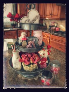 My three tiered tray decorated for Valentine's Day.