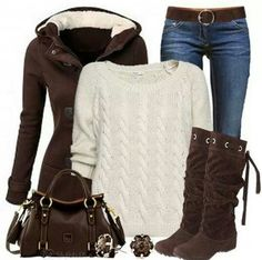 Like the brown coat, jeans and boots :)
