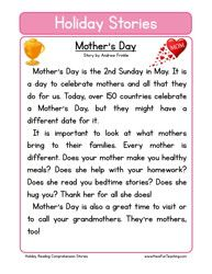 holiday stories comprehension mothers day