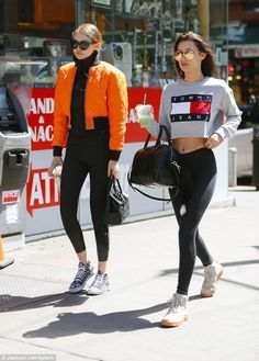 Splurge: Gigi Hadid New York V Files Orange Cropped Bomber, Versace Palazzo Empire black bag and Vans Love Me Daisy Sneaker Sport Fashion, Daily Fashion, Orange Bomber Jacket, Black Converse Outfits, Gigi Hadid Looks, Bella Hadid, Versace, High Tops, Celebrity Style
