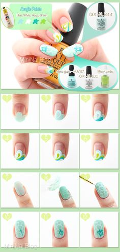 Sea Turtle Nail Art Tutorial :D https://nailbees.com/sea-turtle-nails #31DC2014