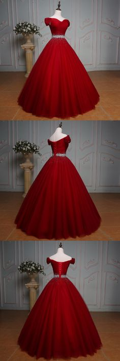 Handsome Red Prom Dress, Off Shoulder Long Ball Gown Party Dress, Evening Dress With Waist Beading