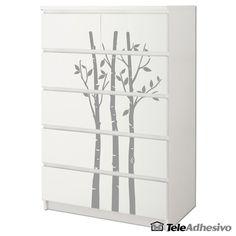 Cómoda #Malm de #Ikea decorada con #vinilo decorativo de bambú #decoración #muebles #teleadhesivo