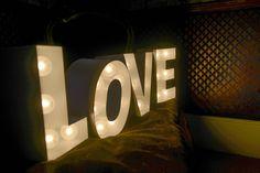 LOVE Large Light Up Letters for Wedding Celebrations.