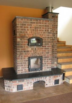 The Masonry Heater Association Gallery. another nice basic design with just a touch of fancy brick detail. Outdoor Fireplace Designs, Home Fireplace, Fireplaces, Wood Stove Heater, Earthship Home, Brick Detail, Cooking Stove, Rocket Stoves, Cottage Kitchens