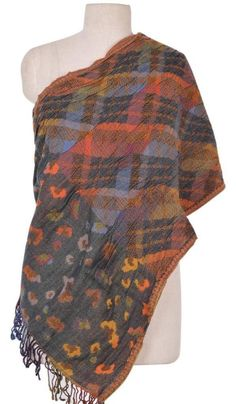 Pure Boiled Wool Shawl Stole Scarf Hand Embroidery India ID13570 #Handmade #Scarf