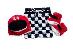 BABY RACING OUTFIT, Crochet Race Car, Checkered Flag, Knit Race Car Outfit, Racing Baby Helmet, Baby Boy Racing, Newborn Race Car Photo Prop by Grandmabilt on Etsy