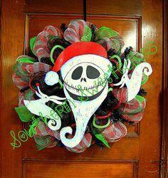 "nightmare before christmas wreaths made with mesh | Jack Skellington ""The Nightmare Before Christmas"" Christmas Wreath"
