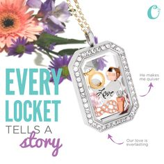 This Locket tells the story of a bride and her engagement! We'd love to hear the story of how he *popped* the question to you! #OrigamiOwl
