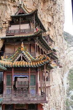 The Hanging Temple or Hanging Monastery - Near Mount Heng in Hunyuan County, Shanxi Province, China. I loved it here I wish I could go back. Beautiful Buildings, Beautiful Places, Amazing Places, The Places Youll Go, Places To Go, Holiday Places, Taoism, Chinese Architecture, Buddhist Art