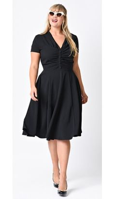 Hell Bunny Plus Size 1950s Black Crepe Rosina Swing Dress