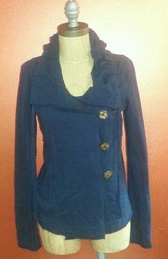 #Lucky #Brand #Navy #Blue #Fleece #Cowl #Collar  #Cardigan Sz Small