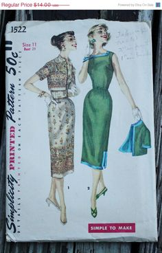 55% AnnualPatternSale Simplicity 1522 1950s by EleanorMeriwether