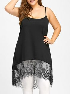 Plus Size High Low Lace Panel Cami Tank Top