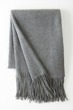 """Signature Cashmere Blend Throw - Heather Grey - 65"""" x 50"""" by Pur Cashmere on @HauteLook"""