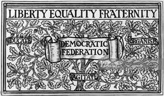 Membership card for the Democratic Federation designed by William Morris. The slogan is 'Educate, Organise and Agitate'. The design is an oak tree laden with acorns.