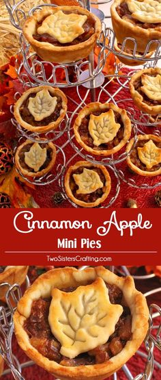 Cinnamon Apple Mini Pies are a unique take on a Thanksgiving Pie. Bite sized apple pies with a delicious hint of cinnamon that is always a crowd favorite Christmas Dessert. And they are small enough that you can eat a couple of them! Pin this fun Thanksgiving Dessert for later and follow us for more great Thanksgiving Food and Christmas Food Ideas.