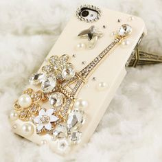 Charm flower Bling crystal iPhone pearl Case Sweet black iPhone Cases cute iPhone 4 Case Flower Bow Swarovski Jewels iPhone 4s Case