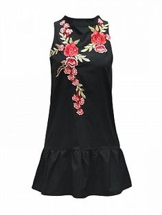 Shop Black Embroidery Floral Open Back Sleeveless Flounced Dress from choies.com .Free shipping Worldwide.$18.99