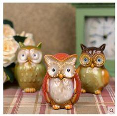 3 stks Uil coruja ceramica uil beeldjes home decor keramische handwerk ambachten kamer decoratie porselein dier beeldje(China (Mainland))