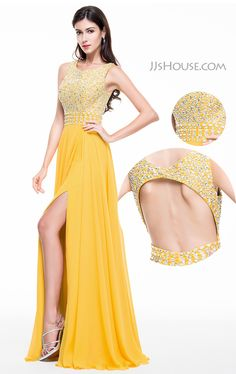 Simple and chic with a pop of sparkle! You'll earn plenty of double takes in this glamorous open back Prom dress! #JJsHouse #Party #Prom